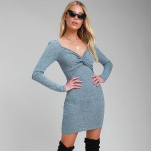 Dresses - Knotted Twisted Heathered Dress